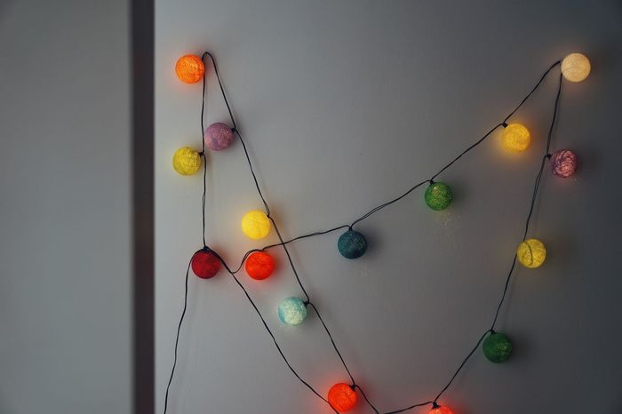 String String Lights Colors Colours Lights Lighting Equipment Minimalism Minimal Cotton Balls Cotton Ball Light Light String Wall Interior Hanging Multi Colored Red Close-up Thread