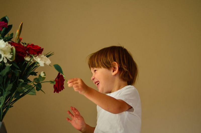 Full length of boy holding flowers against wall