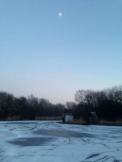 Winter Snow Cold Temperature Frozen Winter Sport Bare Tree Sky Clear Sky Moon Tree Outdoors Snowing Nature Ice Ice Lake Frozen Lake Ice Skating Frozen Landscape  Frozen Lake, Breathing Space