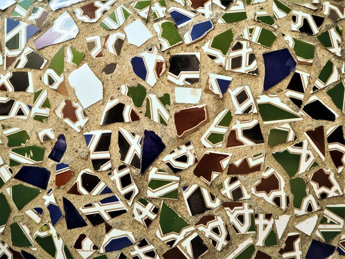 Mosaic Art And Craft Backgrounds Close-up Creativity Decoration Design Full Frame Pattern Tiles