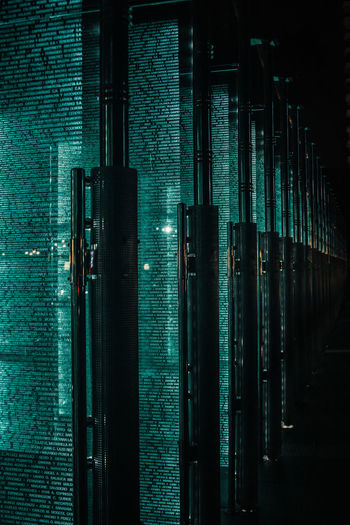 A super cool memorial installation found in the streets of Guayaquil. No People Urban Future Text Communication Light Glass Glass - Material Shape Built Structure Dark Illuminated Pattern Wall Turquoise Colored Data Computer Technology Full Frame Cyberspace Network Coding Binary Code Information Medium Science