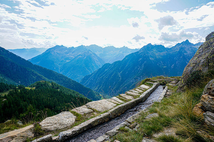 View over the canaa aqueduct over the val lavizzara, switzerland