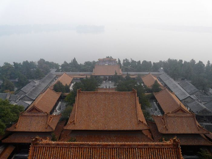 High angle view of old building against sky