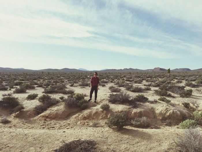 Desolate Desert Landscape One Person Outdoors Beauty In Nature Lost In The Landscape