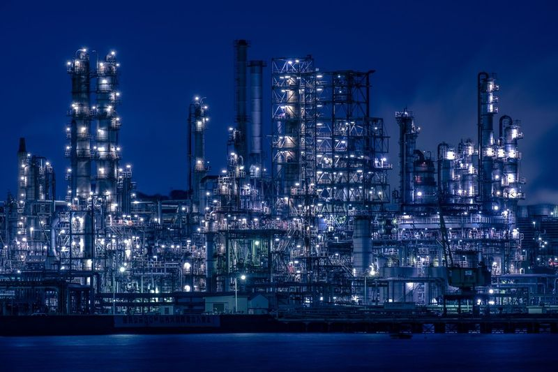 Factory Night View Night Built Structure Illuminated Architecture Building Exterior Water No People Sky City Lighting Equipment Waterfront Outdoors Cityscape Blue
