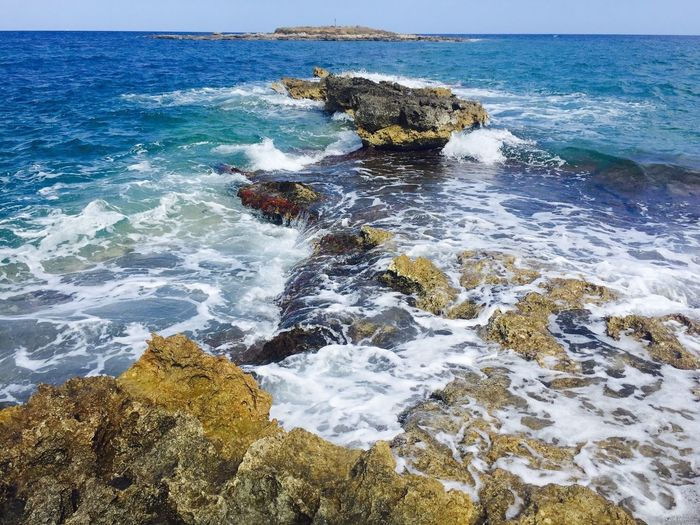 Sea Water Wave Nature Beauty In Nature Horizon Over Water Rock - Object Motion Scenics Day Outdoors No People Beach Blue Crash Power In Nature Sky Force Ognina-Siracusa Ogninaforever😍 😚