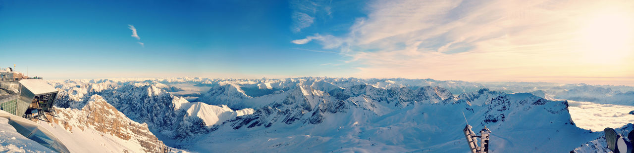 Panoramic shot of snowcapped mountains seen from zugspitze against sky
