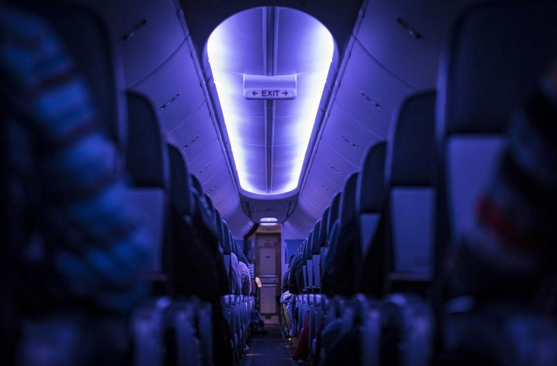Interior Of Illuminated Airplane