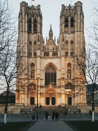 Building Exterior Architecture Place Of Worship Religion Travel Destinations Built Structure Façade Tower Entrance Spirituality Gothic Style Church Cathedral Saint Michael And Saint Gudula Brussels Winter Symmetry Belgium