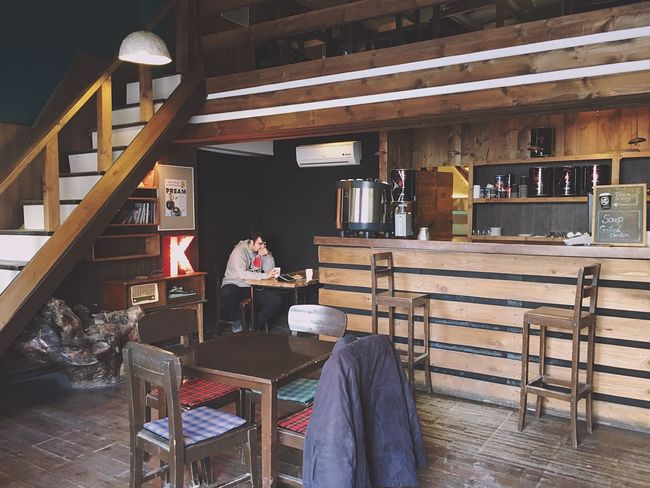 Chair Sitting Wood - Material Table Real People Architecture Lifestyles Built Structure Indoors  One Person Day People Konjcafe Breathing Space Be. Ready.
