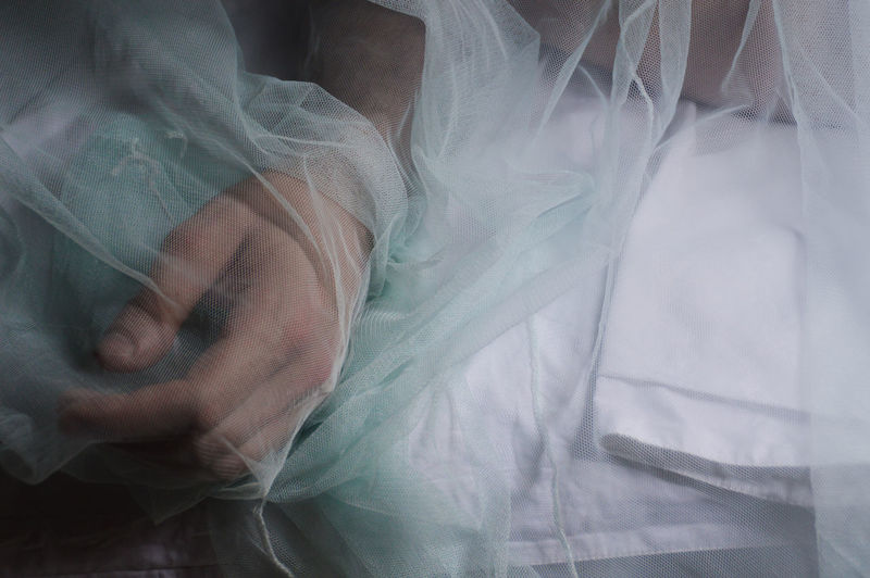 High angle view of person lying on bed seen through netting