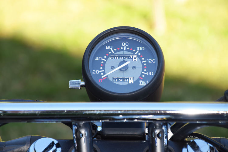 Close-up of speedometer on motorcycle