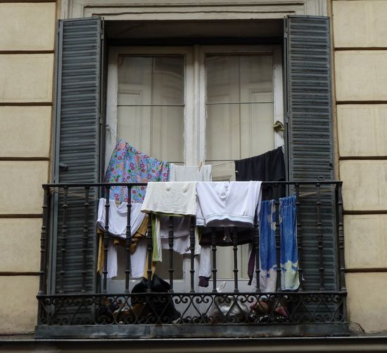 """""""Laundry day"""" Balcony Building Building Exterior Clothes Juliet Balcony Laundry Madrid Spain No People Railing Residential Building Shutters Summer Sunset Terrace Underwear😈 Washing"""