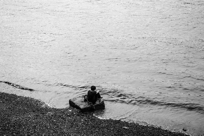 Solitude.The Great Outdoors - 2016 EyeEm Awards The Street Photographer - 2016 EyeEm Awards Black And White Moody River Water The Thames Solitude Visual Statements Visual Stories Visual Storytelling Fine Art Photography People And Places