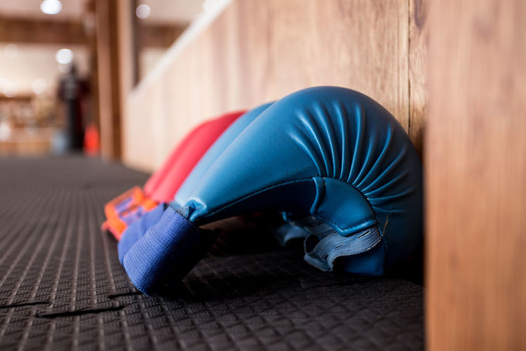 Close-Up Of Boxing Gloves On Floor