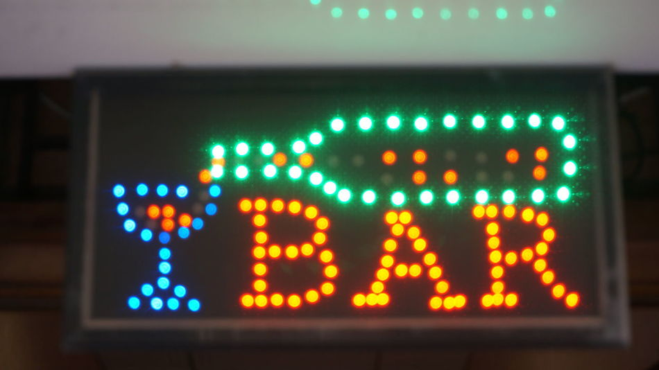 Blurry simple LED bar sign LED Arts Culture And Entertainment Bar Bar Sign Blurry Business Close-up Communication Glowing Illuminated Indoors  Information Information Sign LED Led Lights  Lighting Equipment Neon Night No People Number Screen Sign Technology Text Western Script