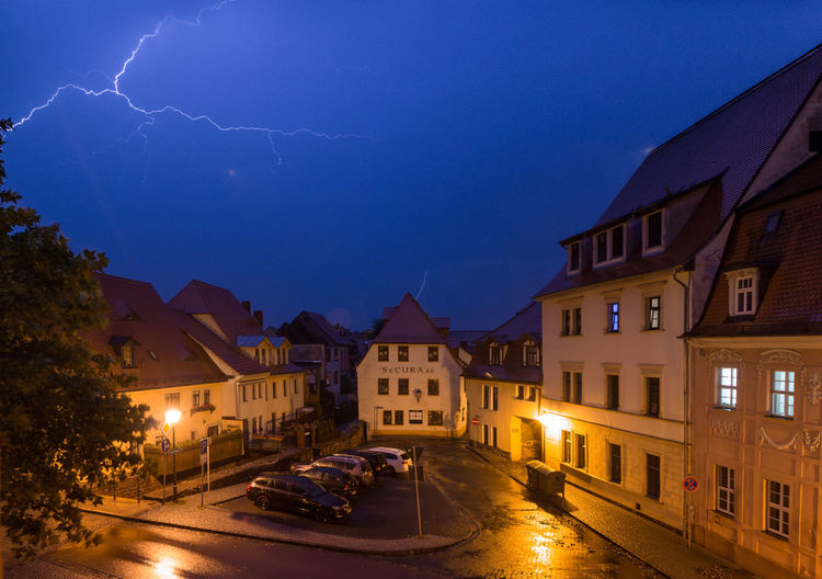 ☇☇☈☈ Night Illuminated Lightning Thunder Weather Building Exterior Street House Architecture Cityscape City No People Nightlife Outdoors Water Star - Space Sky Politics And Government Germany🇩🇪 Mansfeld Südharz Eisleben