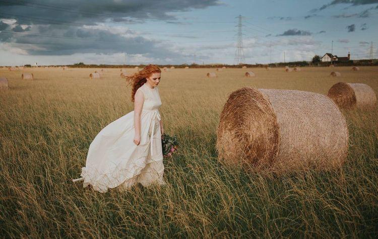 Haybale Countryside Girl Bride Field Vintage Dress Redhead Breeze Portrait