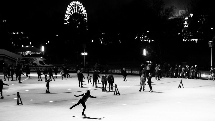 Ice ice baby 🙆 EyeEm Best Shots - Black + White Showcase: December Streetphotography Streetphoto_bw Hanging Out Life In Motion Capture The Moment People Watching Ice Skating Ice EyeEm Best Shots - People + Portrait Hamburg Urban Blackandwhite Monochrome Girl Sony Sonynex6 CarlZeiss Night Nightphotography Night Lights Found On The Roll
