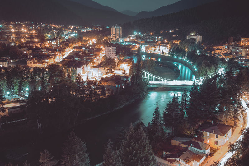 Architecture Built Structure Building Exterior Water Bridge City Bridge - Man Made Structure Transportation Illuminated Connection River Nature High Angle View No People Cityscape Tree Night Travel Destinations Residential District Outdoors Arch Bridge