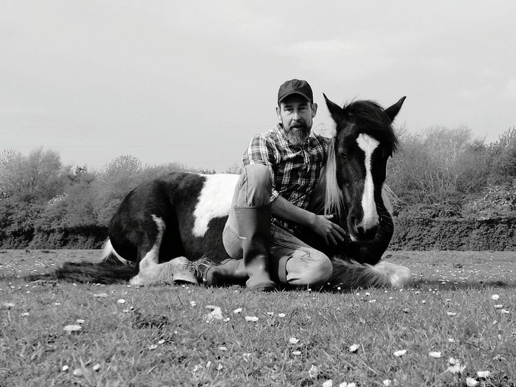Relaxing With Skye Horse Skye Relaxing Feild Lying Down Black And White
