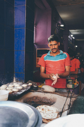 Man working in tray