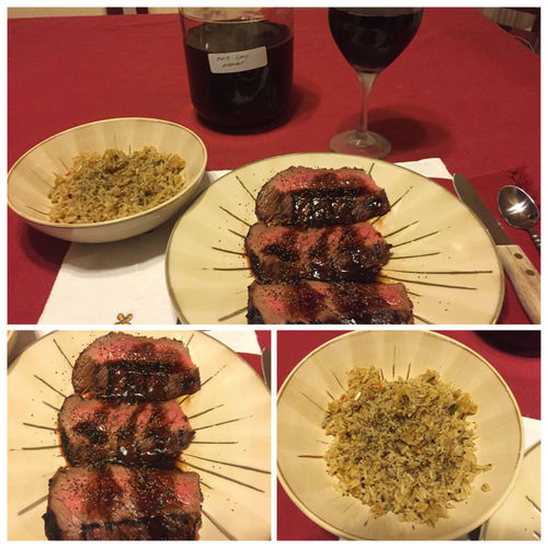 Grilled London Broil with a teriyaki & pineapple juice sauce drizzled over it. Served with spanish rice and my homemade 2013 Californian Merlot ICanCookMyAssOff Nomnombomb TheExpensiveWinos MyFoodPics