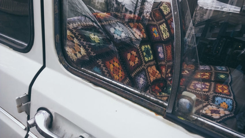 Car Close-up Crochet Blanket Day Historical Car Land Vehicle Mode Of Transport No People Old Car Outdoors Transportation Window