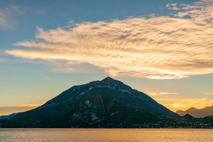 The mount mottarone at sunset on lake como, lombardia, italy