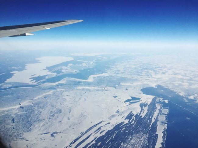 A Frozen Lake Superior From An Airplane Window over Canada