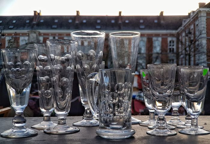 Large Group Of Objects For Sale City Background Backgrounds Flea Market Fleamarket Material Glass Glasses Glass - Material Old Glass Old Glassware Fassade Glass Reflections Antique Glass