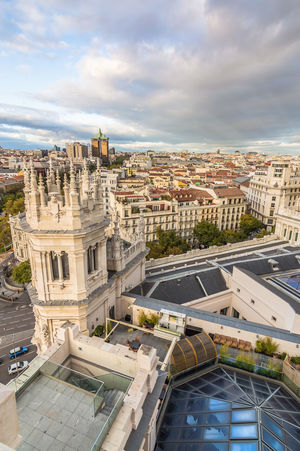 Madrid skyline from town hall at sunset Architecture Capital Cities  Cibeles City City City Hall City Life Cityscape Cityscape Cloud - Sky Day European  High Angle View Madrid No People Outdoors Roof Skylight SPAIN Sunset Travel Destinations Urban Urban Skyline