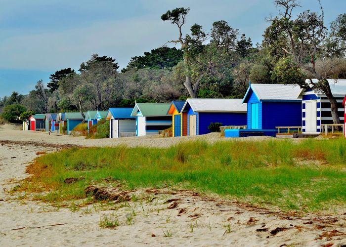 Bathing boxes on the beach at rosebud Architecture Beach Blue Building Exterior Built Structure Hut Landscape Sand