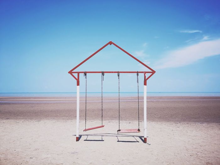 Cradle  Water Sea Beach Sand Lifeguard  Blue Summer Lifeguard Hut Clear Sky Sky Triangle Shape Seascape Coast Wave Horizon Over Water Surf