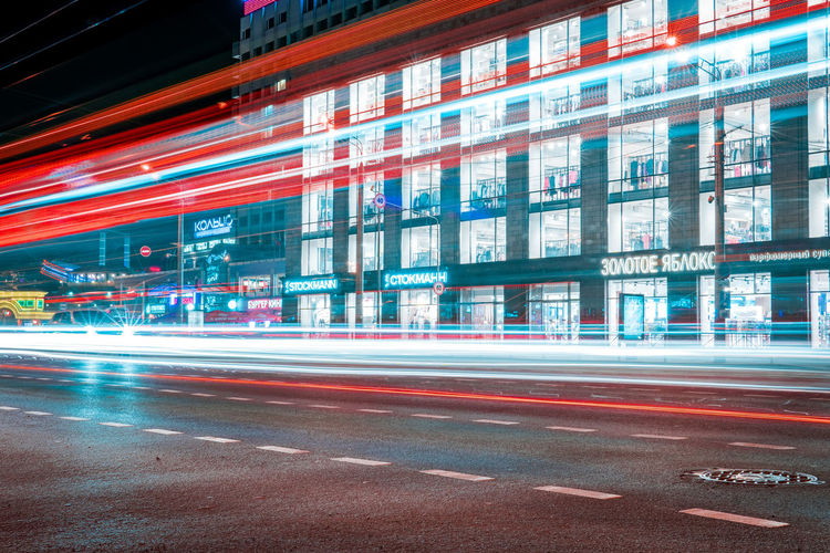 Motion Architecture Long Exposure Speed City Blurred Motion Transportation Road Light Trail Building Exterior Illuminated Built Structure Street City Life Sign No People City Street Mode Of Transportation Outdoors Busy