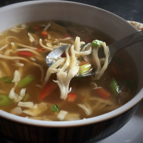 It's soup time again... Lunch Food And Drink Bowl Close-up Soup Chicken Noodle Soup Homemade Soup Soup Of The Day Food Photography Food Blogger Foodblogday Healthy Eating Yum 😋😋.