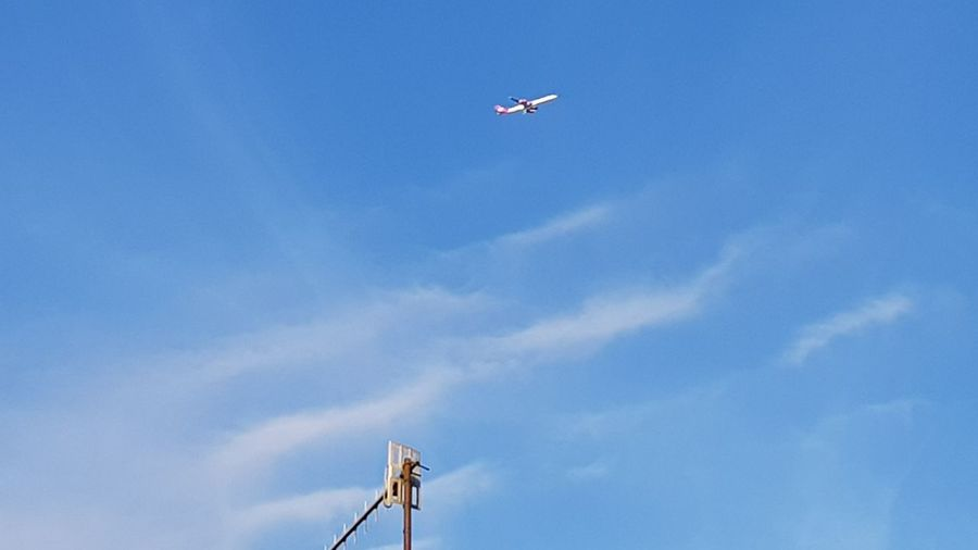 Flying Sky Low Angle View Airplane Air Vehicle Day Cloud - Sky Blue Outdoors No People Chimney Ariel Anntena Scalar Waves
