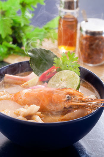 Close-up of seafood in bowl on table