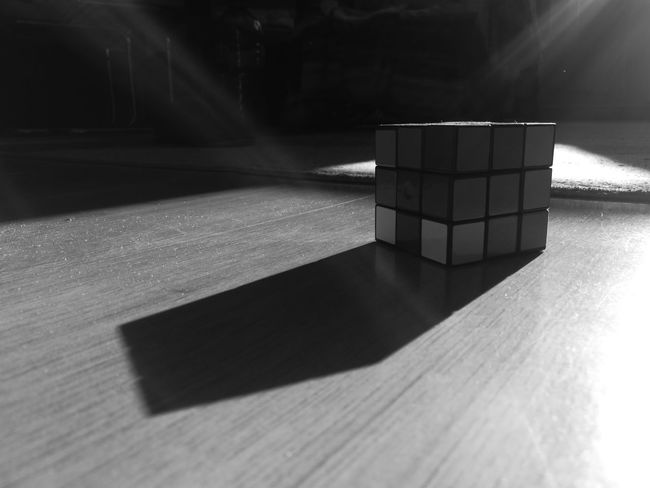 Sunlight Indoors  Shadow No People Close-up Cube Black & White Rubik's Cube No Filters Or Effects Personal Perspective