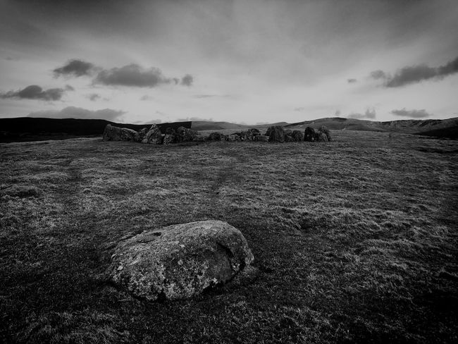 Moody Sky Cloudy Black And White Stone Circle Sky Cloud - Sky No People Nature Landscape Tranquil Scene Tranquility Beauty In Nature Outdoors Mountain Scenics Field Day