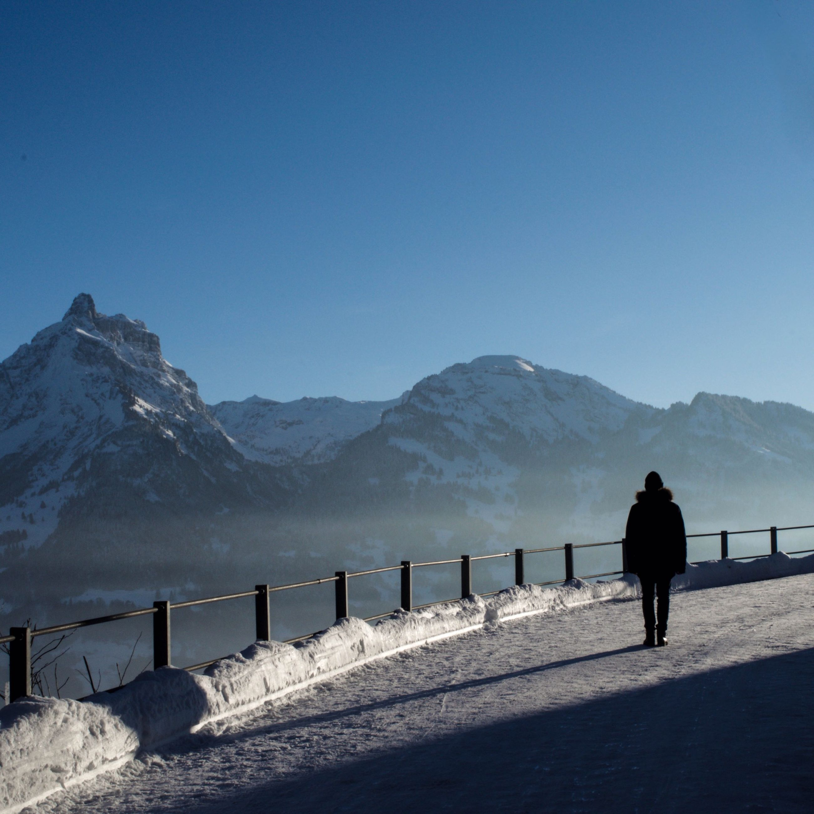 mountain, winter, snow, mountain range, cold temperature, full length, rear view, clear sky, tranquil scene, lifestyles, leisure activity, copy space, tranquility, scenics, men, standing, railing, walking