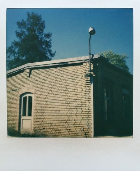 Impossible Project Film Photography Analogue Photography Slr680 Abandoned Buildings Blue Sky Shelter Lantern Spring Sunshine Light And Shadow