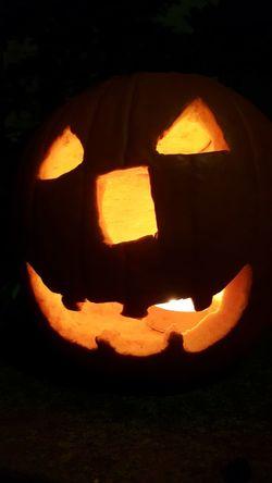 Creepy Halloween Pumpkin Illuminated Jack O' Lantern Celebration Tradition Orange Color Close-up Jack O Lantern