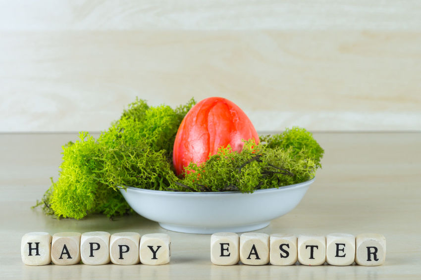 Easter Easter Basket  Easter Eggs Alphabet Capital Letter Close-up Communication Day Food Food And Drink Freshness Happy Easter Healthy Eating Indoors  Moss No People Single Word Table Text Western Script