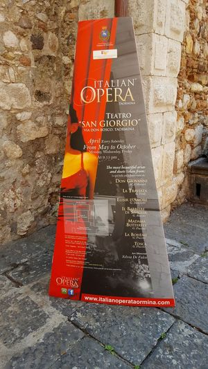 Italian Opera Taormina Italy Italy Opera Travel Destinations Tourist Attraction  Vacation Time Inspiration Art Text Communication Day Guidance Outdoors Safety No People