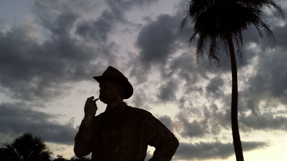 Statue Paul Kroegel who created The First National Wildlife Refuge Pelican Island National Wildlife Refuge First Eco Activist Palm Tree Silhouette