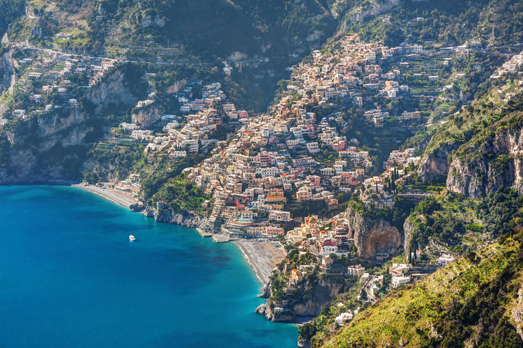 Positano, Italy: aerial view of the small town on the Amalfi Coast Positano Positano, Italy Aerial View High Angle View Amalfi Coast Italy Town Village City Cityscape Sea Cammino Degli Dei Nature Scenics - Nature Day No People Travel Destinations Outdoors Travel