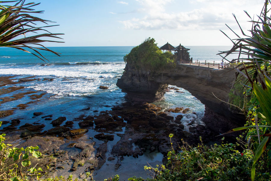 Bali, Indonesia Balinese Culture Beach Beautiful Day Horizon Over Water Horizontal Nature Nature No People Ocean View Outdoors Place Of Worship Pura Batu Bolong Religious  Rock Formation Scenics Sea Sea Temple Sky Tranquility Travel Destinations Tree Vacation Water The Great Outdoors - 2017 EyeEm Awards