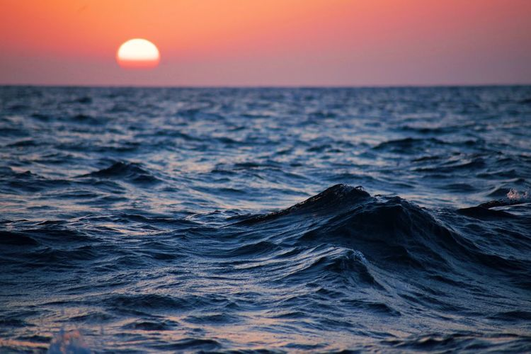 Sunset over the Mediterranean Sea. Red Sky EyeEm Best Shots EyeEm Nature Lover Sea Sky Sunset Horizon Over Water Horizon Water Beauty In Nature Scenics - Nature Wave Motion Nature Sun Tranquility Outdoors No People Waterfront Tranquil Scene Idyllic