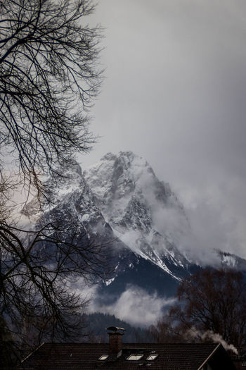 Tree Sky Cold Temperature Snow Winter Mountain Scenics - Nature Plant No People Beauty In Nature Cloud - Sky Nature Tranquil Scene Bare Tree Tranquility Fog Mountain Range Day Snowcapped Mountain Outdoors Mountain Peak